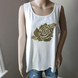 XL White Tank Top Gold Rose Embellishment